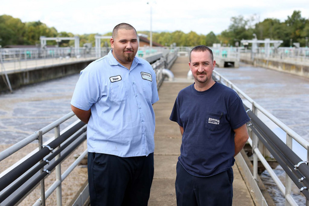 Chris and Steven at the Moores Creek Wastewater Treatment Facility (Photo: Andrew Shurtleff)